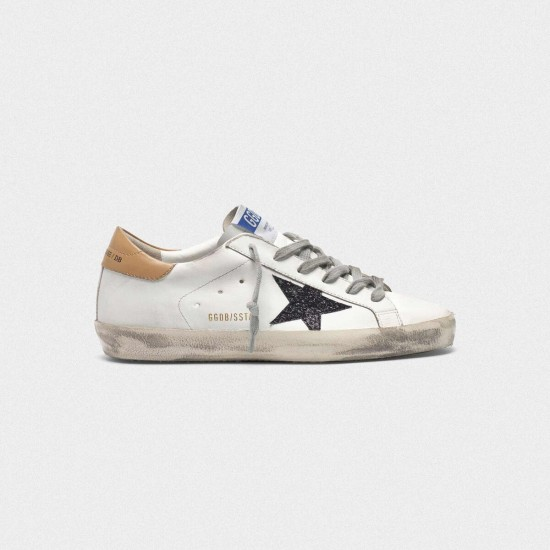 Men/Women Golden Goose superstar in leather with glittery star yellow sneaker
