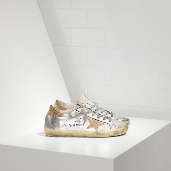 Men/Women Golden Goose superstar with leather star silver gold sneaker
