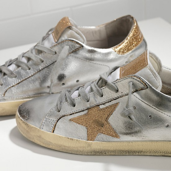 Men/Women Golden Goose superstar with leather star silver gold sneaker