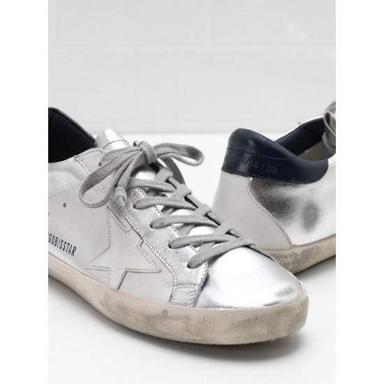 Men/Women Golden Goose superstar in metallic goatskin leather star sneaker