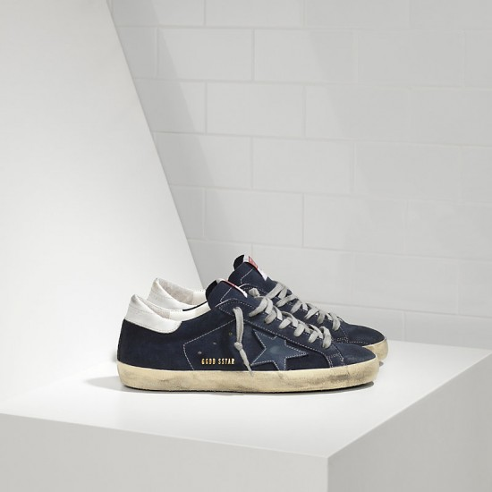 Men Golden Goose superstar in suede and leather star blue sneaker