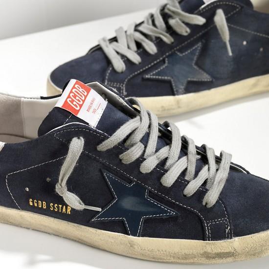 Men Golden Goose superstar in suede and leather star blue sneaker