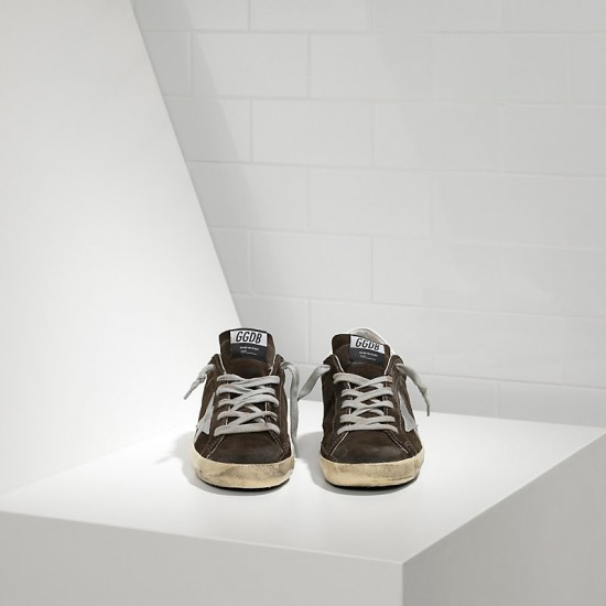 Men Golden Goose superstar in suede and leather star coffee sneaker