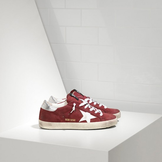 Men/Women Golden Goose superstar in suede red suede white star sneaker