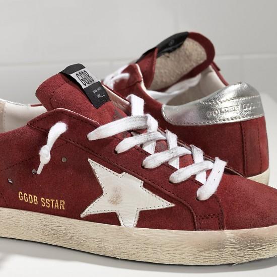 Men/Women Golden Goose superstar in suede red suede white star sneaker