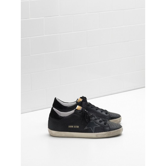 Men Golden Goose superstar in technical leather star in black sneaker