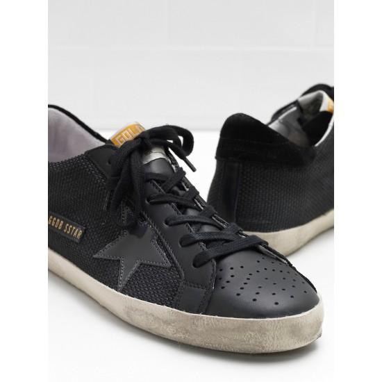 Men Golden Goose superstar in technical leather star in black sneaker