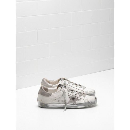 Men/Women Golden Goose superstar in white gray star logo sneaker