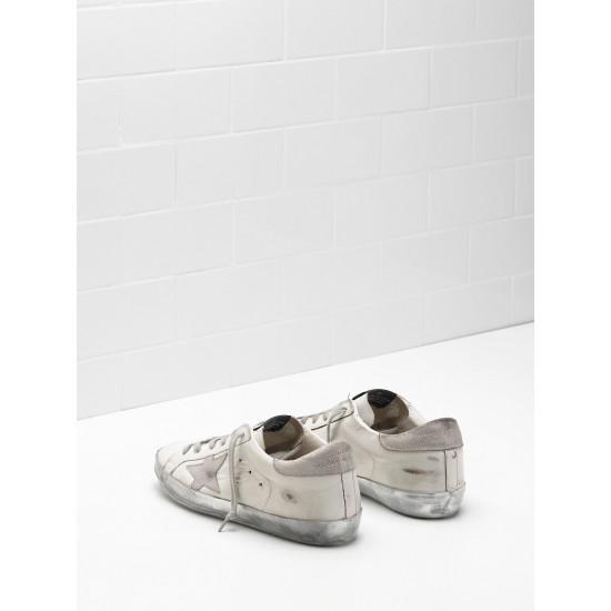 Men/Women Golden Goose superstar in white gray star logo sneaker