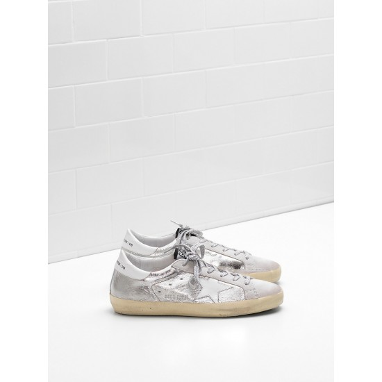 Men/Women Golden Goose superstar laminated fabric wrinkled effect sneaker