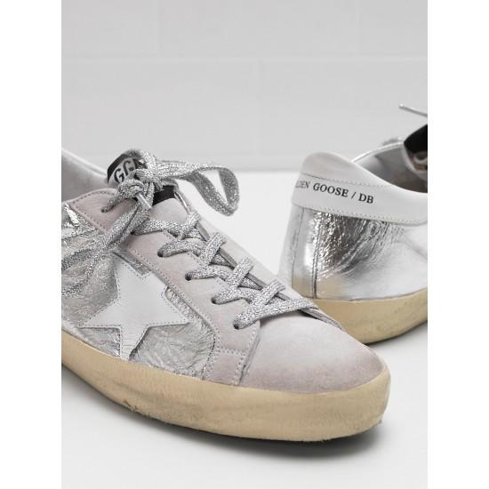Men/Women Golden Goose superstar laminated fabric wrinkled effect sneaker