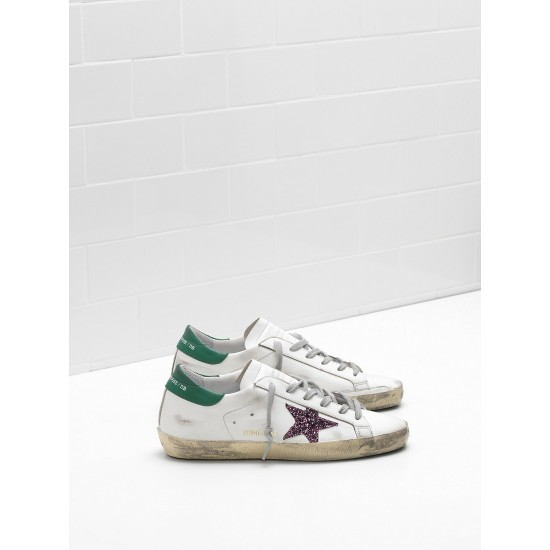 Men/Women Golden Goose superstar leather glitter coated star purple sneaker
