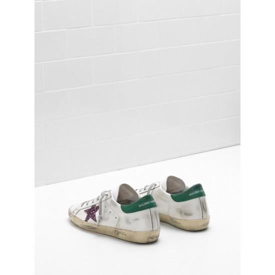 Men/Women Golden Goose superstar leather glitter coated star purple sneaker