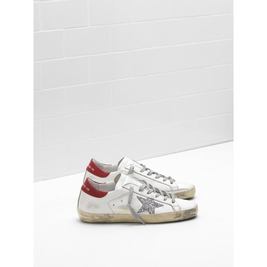 Men/Women Golden Goose superstar leather glitter coated star red sneaker