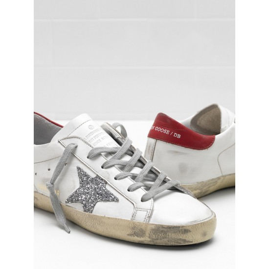 Men/Women Golden Goose superstar leather glitter coated star red sneaker
