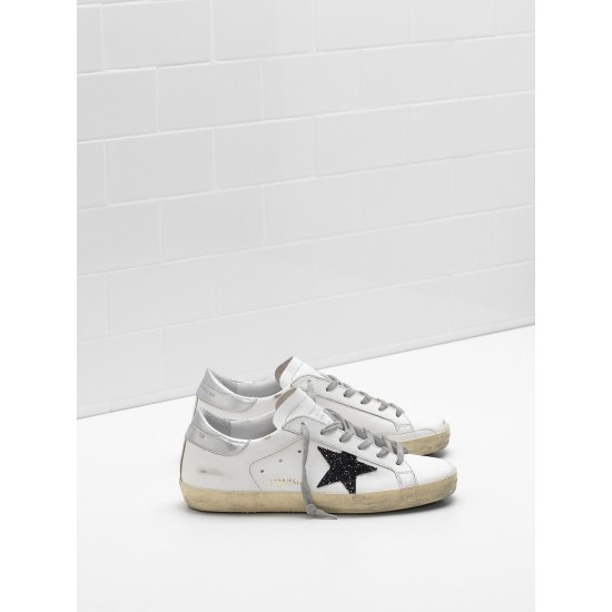 Men/Women Golden Goose superstar leather glitter star in black sneaker