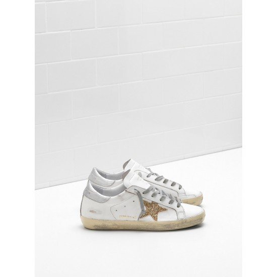 Men/Women Golden Goose superstar leather glitter star in golden sneaker