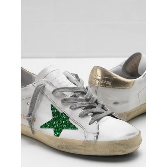 Men/Women Golden Goose superstar leather glitter star in green sneaker