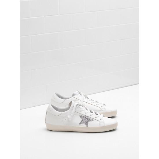 Men/Women Golden Goose superstar glitter star in laminated silver sneaker