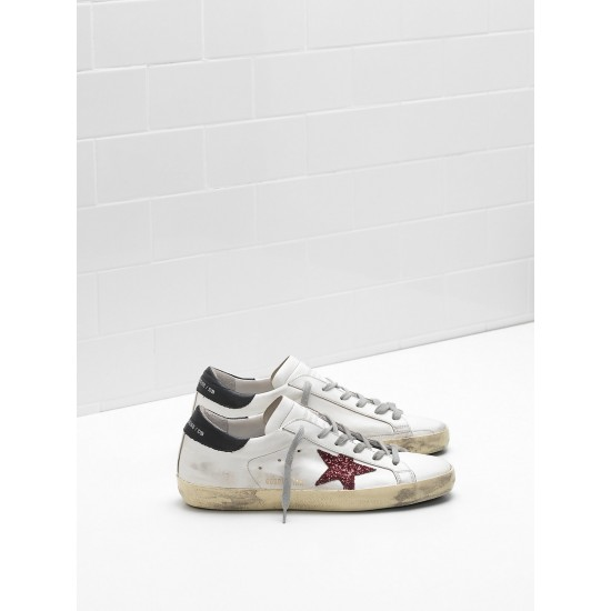 Men/Women Golden Goose superstar leather glitter star red black sneaker