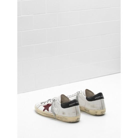 Men/Women Golden Goose superstar leather glitter star red black sneaker