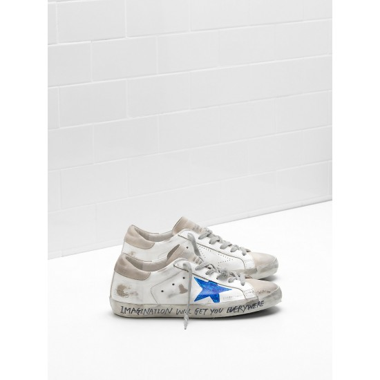 Men/Women Golden Goose superstar openwork star blue star logo sneaker