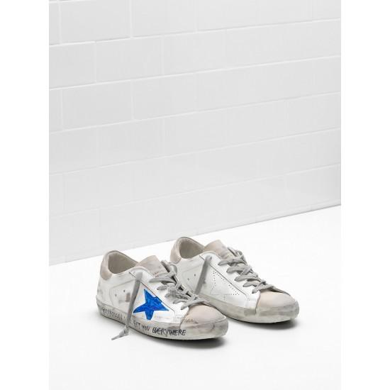 Men/Women Golden Goose superstar openwork star blue star logo sneaker