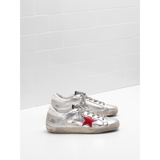 Men/Women Golden Goose superstar leather star in glossy material sneaker