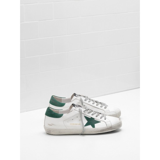 Men/Women Golden Goose superstar leather star in green star sneaker