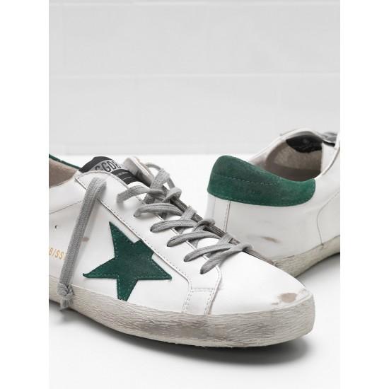Men/Women Golden Goose superstar leather star in green star sneaker