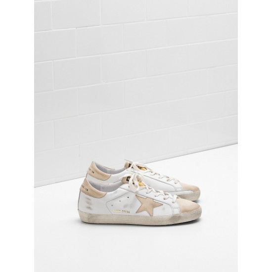 Men/Women Golden Goose superstar leather star in leather khaki sneaker