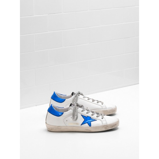 Men/Women Golden Goose superstar leather star in shiny blue star sneaker