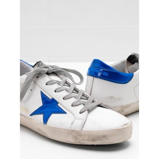 Men/Women Golden Goose superstar leather star in shiny blue star sneaker