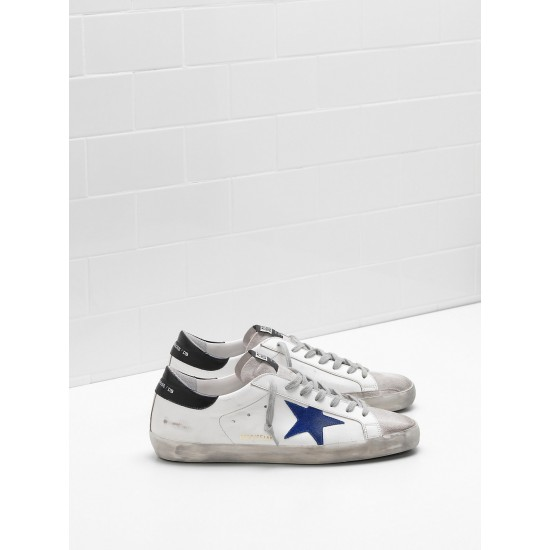 Men Golden Goose superstar leather star in suede blue star sneaker