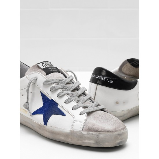 Men Golden Goose superstar leather star in suede blue star sneaker