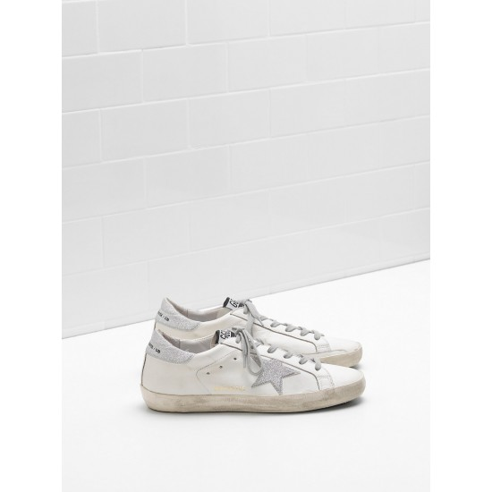 Men/Women Golden Goose superstar leather star with glitter sneaker