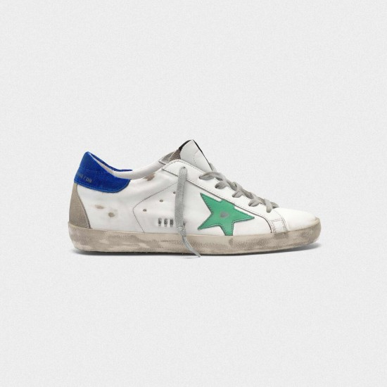 Men Golden Goose superstar with metal ggdb lettering green star sneaker