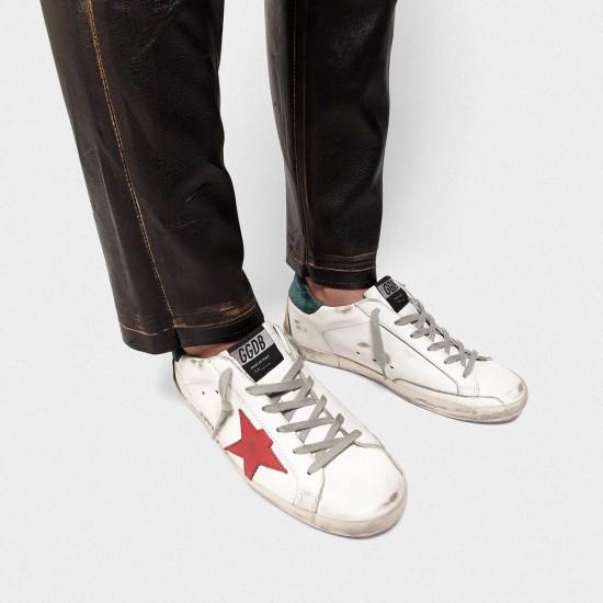Men Golden Goose superstar with metal ggdb lettering red star sneaker