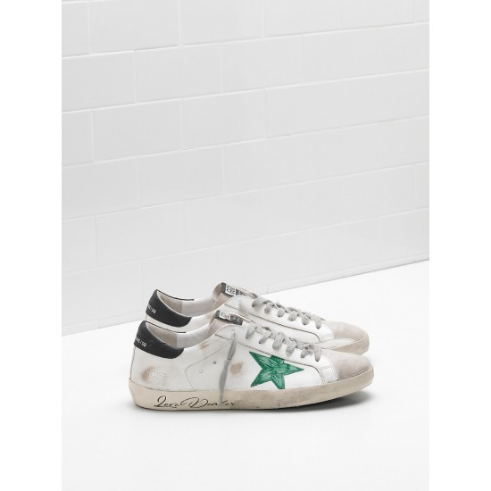 Men Golden Goose supper openwork star hand decorated green star sneaker