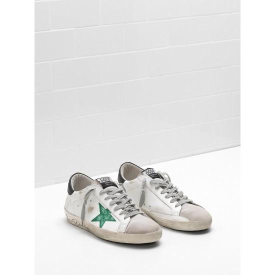 Men Golden Goose supper openwork star hand decorated green star sneaker