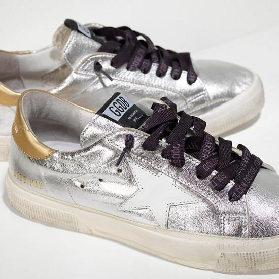 Women Golden Goose may in silver gold white star sneaker