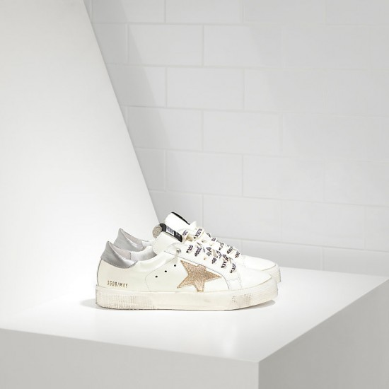Women Golden Goose may in white silver gold sneaker