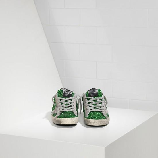 Women Golden Goose superstar emerald green glitte sneaker