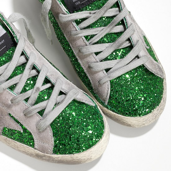 Women Golden Goose superstar emerald green glitte sneaker