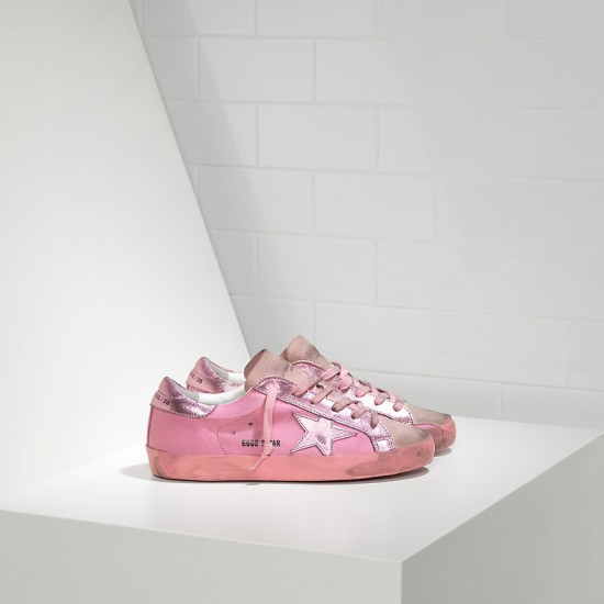 Women Golden Goose superstar in monochromatic pink sneaker