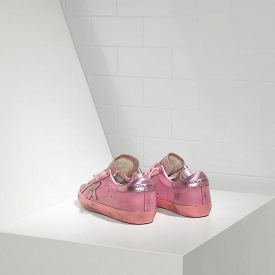 Women Golden Goose superstar in monochromatic pink sneaker