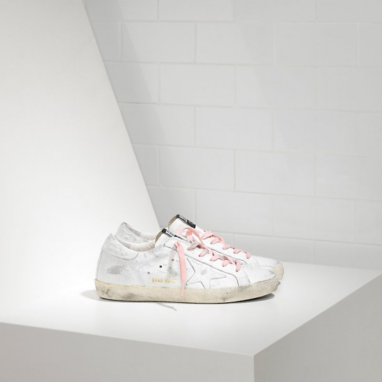 Women Golden Goose superstar in white pink lace sneaker