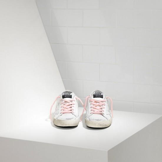 Women Golden Goose superstar in white pink lace sneaker