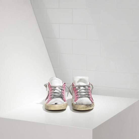 Women Golden Goose superstar in white pink star sneaker