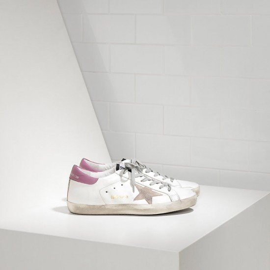 Women Golden Goose superstar in white purple sneaker